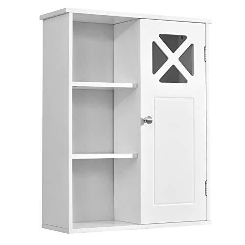 GIANTEX Hängeschrank Holz, Wandschrank mit verstellbaren Einlegeböden, Badezimmerschrank mit 3 Ablagen, Medizinschrank im Landhausstil, Wandhängeschrank für Badezimmer, Küche, Wohnzimmer