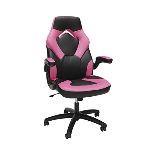 OFM ESS Collection Racing Style Bonded Leather Gaming Chair, in Pink (ESS-3085-PINK)