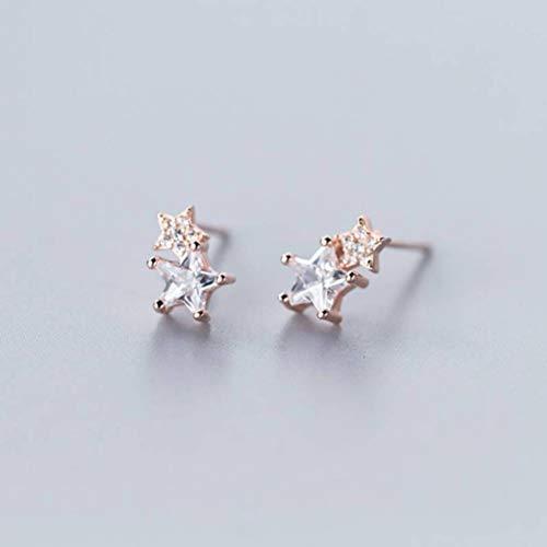 WOZUIMEI Pendientes de Plata S925 Pendientes de Diamantes de Estrella de Cinco Puntas con Estilo de Moda Coreana Femeninaoro rosa