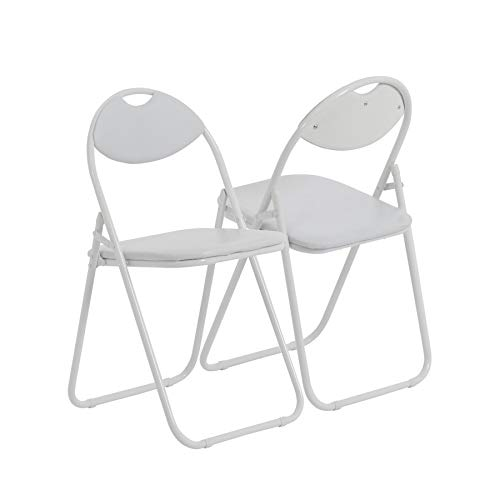 Harbour Housewares White Padded, Folding, Desk Chair/White Frame - Pack of 4