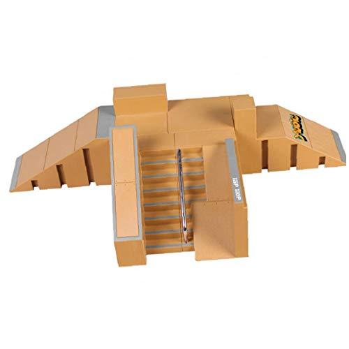 Hotaden Skate Park Kit de rampa de Piezas de Piezas de rampa con Las Juntas de Dedo por un diapasón Tecnología de Cubierta Mini Dedo monopatín 1Ponga