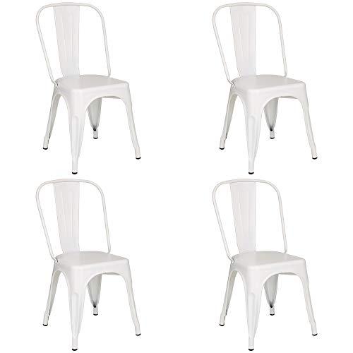 Totò Piccinni Sedia Industry in Metallo Design Industriale (Bianco, 4 Sedie)