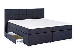 Furniture for Friends Möbelfreude® Boxspringbett Andybur mit Bettkasten Midnight Blue 200x200 cm H2/H3 inkl. Visco-Topper, 7-Zonen Taschenfederkern-Matratze