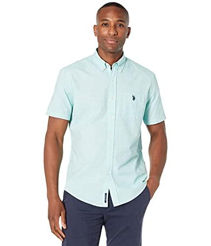 U.S. Polo Assn. camisa de manga corta horizontal de rayas de slub, Camisa tejida de manga corta con rayas horizontales, XXL, Chándal Verde