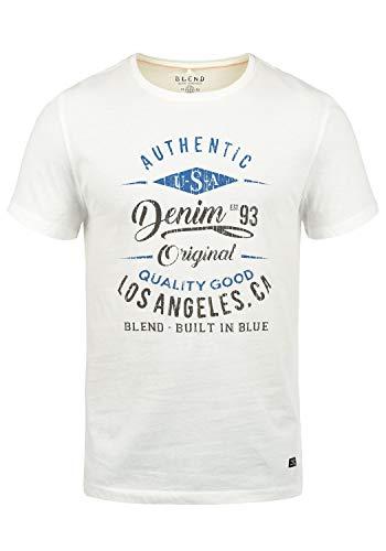 Blend Doppler Herren T-Shirt Kurzarm Shirt Mit Print Und Rundhalsausschnitt Aus 100% Baumwolle, Größe:L, Farbe:Offwhite (70005)