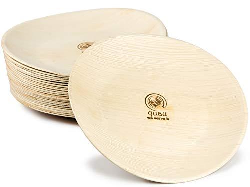 quau | 25 Einwegteller aus Palmblatt | Ø23cm | rund | robust & kompostierbar | Grillteller | Palmblattteller