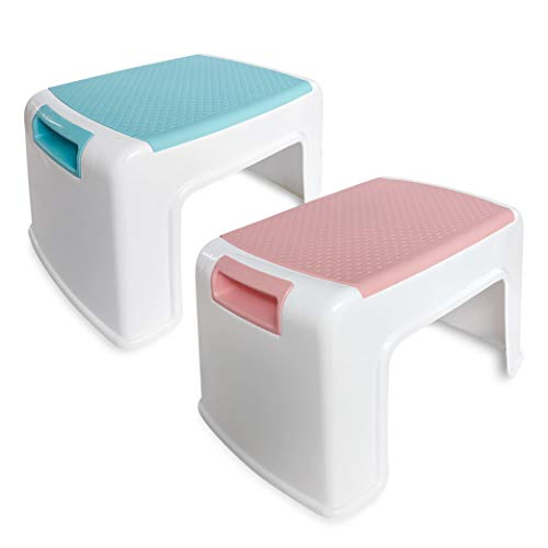 ArielGT Kids Step Stool Combo 2 Pcs Pink amp Blue  Toddler Stool  AntiSlip SoftGrips amp Safety  Carrying Handle – Stackable