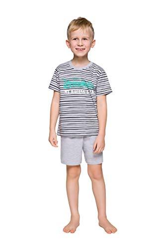 TARO- Pyjama's voor Kleine Jongens 1-9 jaar- Katoenen Pyjamaset voor Kinderen T-shirt + Broek| Shortsleeve/Longsleeve - Veel patronen: Dinosaurussen, Voetbal, Racen, Sporten - 86-140 cm (110, 390 Max Grijs)