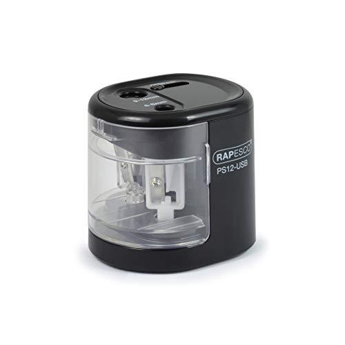 Rapesco PS12-USB temperamatite elettrico a due fori alimentato a pila o carica USB (nero)
