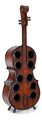 Stagecaptain Stradivino Weinregal für 10 Flaschen - Weinständer aus Holz in Wurzelholz-Optik - Handgemachtes Cello Flaschenregal - Flaschenständer in Höhe 135 cm - Vintage Weinflaschenhalter
