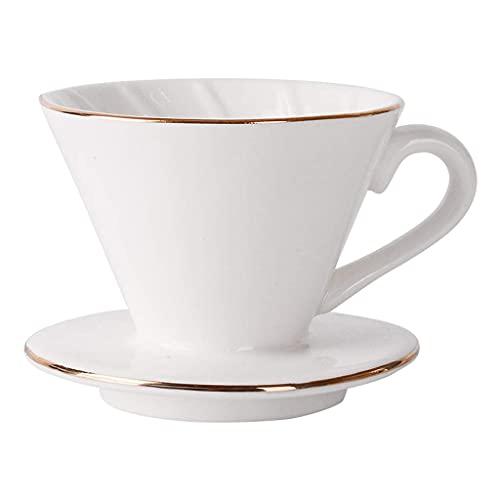 Latte Art Cup reutilizable lavado a mano, taza de filtro estilo cono, accesorios de café portátiles para el hogar, oficina, cafetera, tetera blanca TNSYGSB