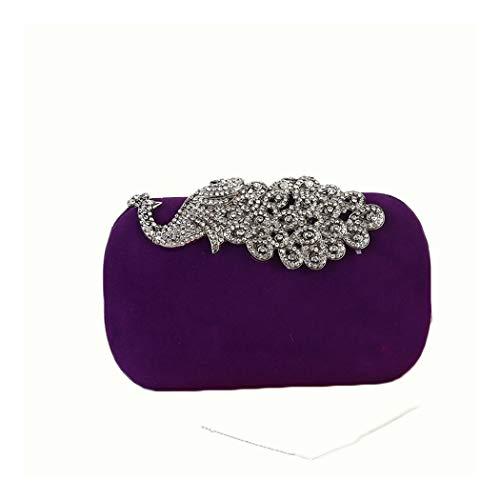 Y-hm Moda Bolsos de Diamantes de Pavo Real para Mujer Bolsa de Fiesta de vellón clásico Hecho a Mano Diseño Ligero (Color : Purple, Size : 17 * 5 * 10)