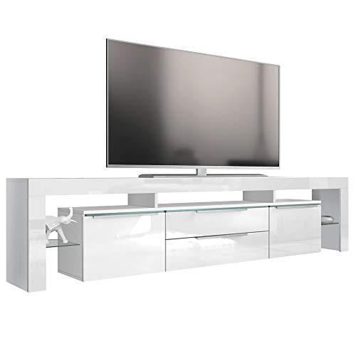 Vladon TV Board Lowboard Lima Nova V2, Korpus in Weiß matt/Front in Weiß Hochglanz