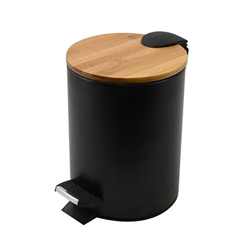 Spirella Kosmetikeimer 3 Liter Edelstahl Bambus mit Absenkautomatik und Inneneimer Adonis Badezimmer Mülleimer Softclose Abfalleimer Schwarz