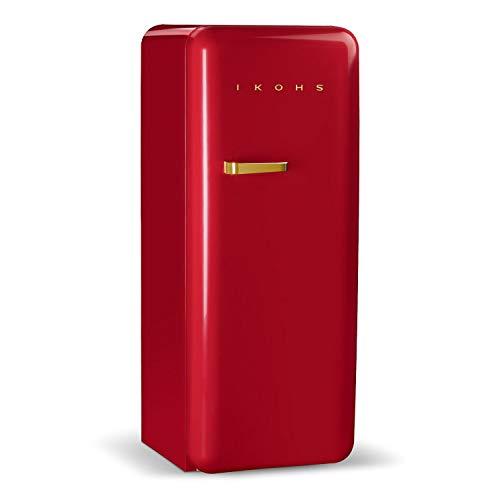 IKOHS Retro Fridge GOLD- Frigorífico con diseño, Control de Temperatura Ajustable, Estética Vintage de los años 50, Clase Energética A+ (Rojo, 150 cm)