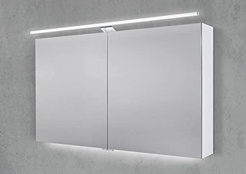 Intarbad ~ Spiegelschrank 120 cm mit LED Beleuchtung, Doppelspiegeltüren Weiß Hochglanz Lack IB1958