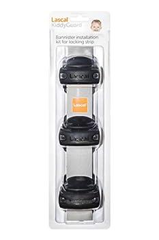Lascal KiddyGuard Avant/Accent/Assure Support barrière de sécurité, Support escaliers avec rampes arrondies ou angulaires jusqu'à ø50 mm, Set de 3 fixations, Noir