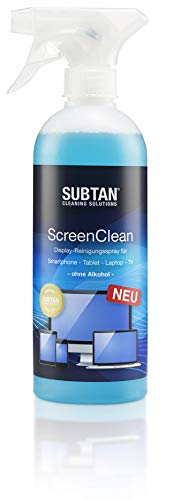 SUBTAN 500 ml ScreenClean Bildschirm- und Display-Reiniger-Spray ohne Alkohol für Smartphone, Tablet, Laptop, TV