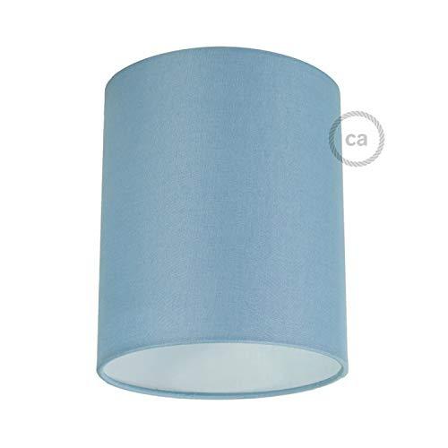 creative cables Zylinderförmiger Lampenschirm aus Stoff mit E27-Fassung, 15 cm Durchmesser, 18 cm Höhe - Made in Italy - Leinwand Hellblau