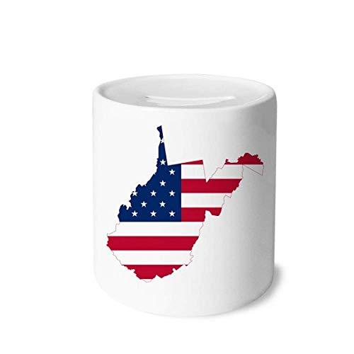 DIYthinker Virginia USA West Map - Hucha de cerámica, diseño de rayas, color blanco y negro