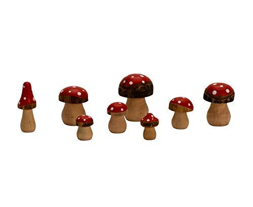 16 Stück Holzpilze Figuren 3-6,5 cm Natur Dekoration Fliegenpilz