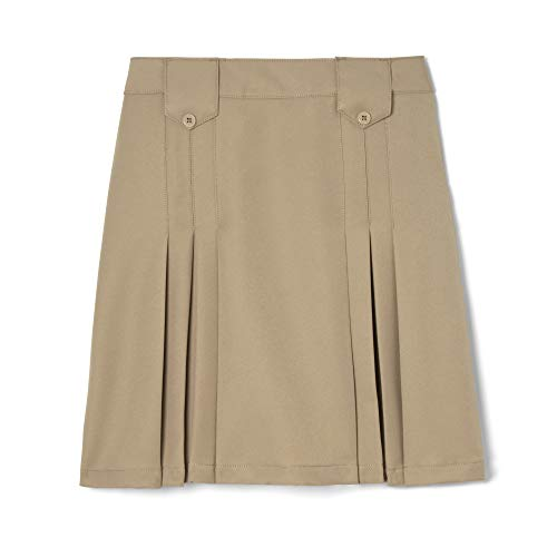French Toast Girls' Front Pleated Skirt with Tabs, Khaki, 10,Big Girls