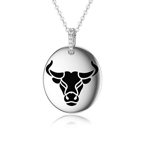 ROMANTICWORK Sterling Silver Necklaces for Women 2021 Chinese Zodiac Cow Pendant Necklace Animal Charms Christmas Jewellery Gifts for Men Boys Girls