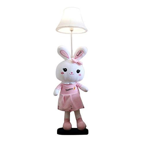 Kinderzimmer Cartoon Kaninchen Stehleuchte Dimmable LED Tischlampe Schlafzimmer Stoff Nachttischlampe Niedliche Tierform Dekorative Lampe Kindergarten Vertikale Stehleuchte (Size : Button Switch)