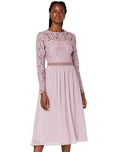 Amazon-Marke: TRUTH & FABLE Damen Midi A-Linien-Kleid aus Spitze, Lila (Qual Lilac), 38, Label:M