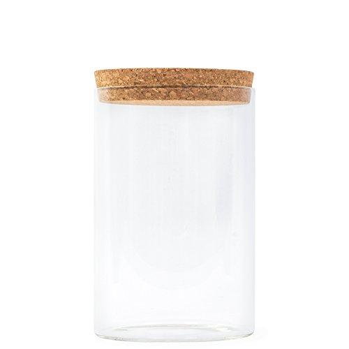 wu designs Tee Glas Dose mit Kork Verschluss - Aufbewahrung - Behältnis - Haushalt – Lagerung - 16cm Höhe