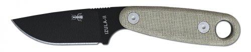 ESEE Knives Izula-II Fixed Blade Knife, Micarta Handle, Molded Sheath, Clip Plate (Black)