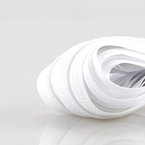 Zipp & Slide® 3 mm Endlosreißverschluss Verschiedene Längen inkl. Zipper 32 Farben zur Auswahl (5 Meter inkl. 10 Zipper, Weiß)