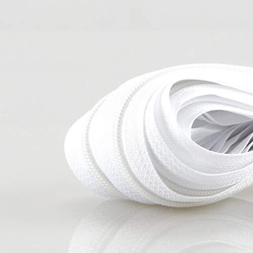 Zipp & Slide® 3 mm Endlosreißverschluss - Nickel Frei! - 5 Meter inkl. 10 Zipper, Weiß