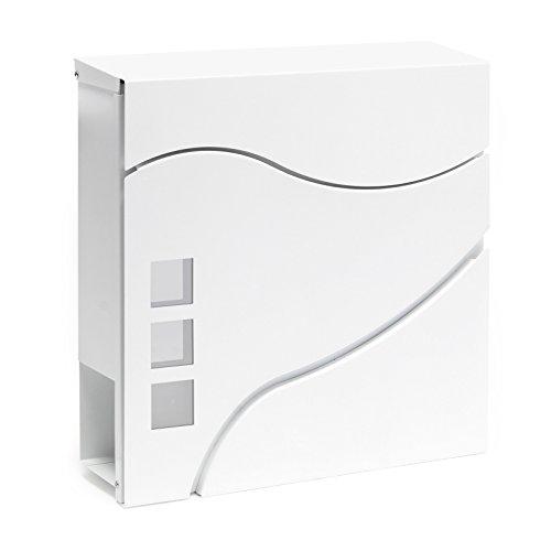 Moderner Design Briefkasten V28 Weiß Wandbriefkasten pulverbeschichtet Zeitungsrolle