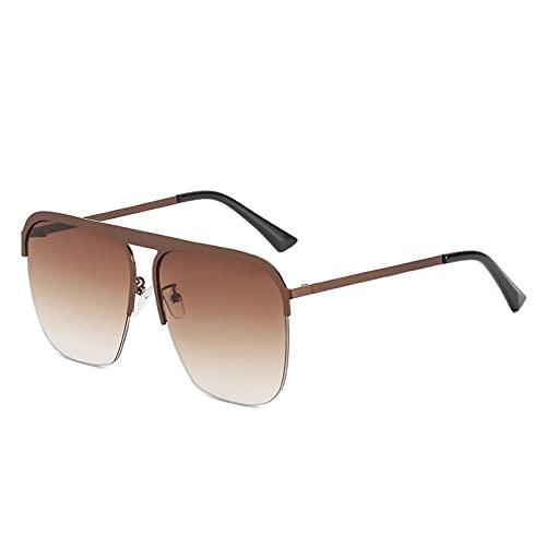 LUOXUEFEI Gafas De Sol Gafas De Sol Cuadradas Medio Marco Mujeres Hombres Gafas De Sol De Gran Tamaño Conducción