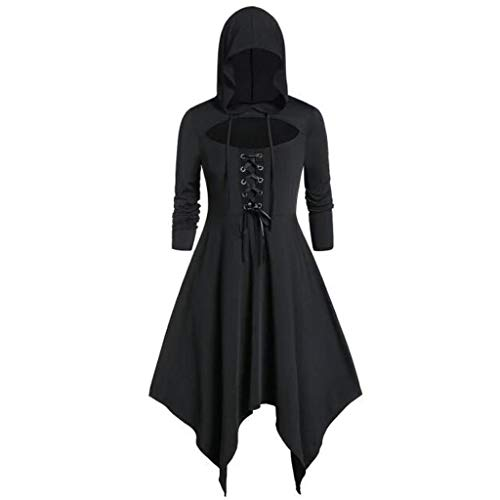 Floweworld Damen Renaissance Kostüme Kapuzen Robe Lace Up Vintage Pullover High Low Lange Hoodie Halloween Kleider Mantel Party Kleider