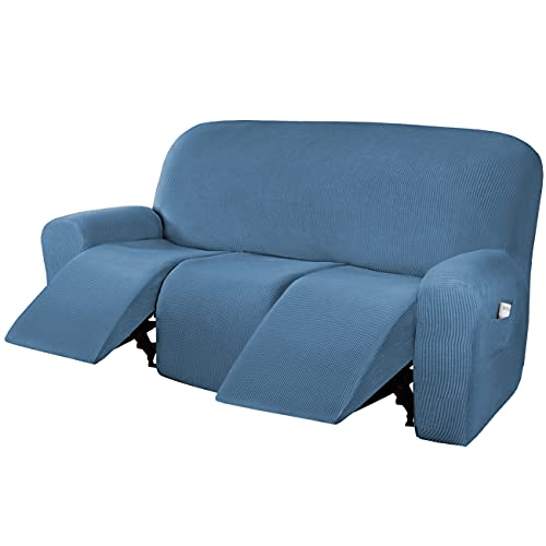 H.VERSAILTEX Super Stretch Recliner Sofa Covers Reclining Couch Covers Recliner Sofa Slipcovers 3 Seater Furniture Covers Thick Soft Jacquard Fabric Form Fitting and Easy Put On, Dusty Blue