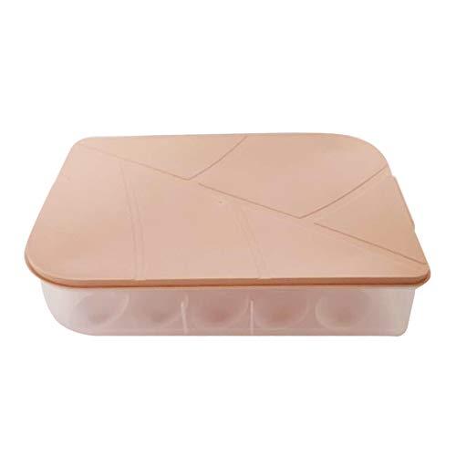 Almacenamiento de nevera, organizador de nevera, caja de almacenamiento de huevos, contenedores de bandeja de huevos, dispensador de plástico hermético y fresco preservación (rosa)