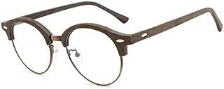 SGJFZD Men's New European and American Style Sheet Glasses Retro Literary Wood Grain Glasses Frame (Color : Coffee)
