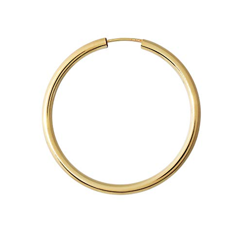 NKlaus Einzeln 585 Gold gelbgold Creole Ohrring Ohrschmuck 2,5mm rund Goldohrring 40mm 9033