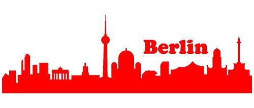 Samunshi® Berlin Skyline Aufkleber Berlin Sticker in 9 Größen und 25 Farben (60x18,9cm hellrot)