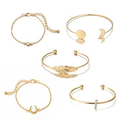 hongruida Juego de 5 pulseras abiertas de ópalo de color dorado bohemio, con hoja de luna, para mujer, estilo punk boho, joyería de regalo (color metálico: oro)