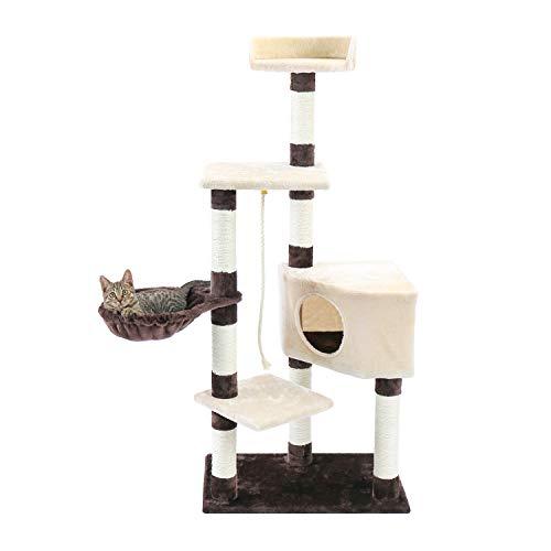 Eono by Amazon Árbol para Gatos Postes rascadores de Torre para Gatos con Canasta para Nido de condominio de Felpa Pelota de Juguete Muebles para Gatitos Gatos Adultos Centro de Actividades Beige