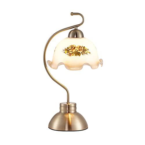 zlw-shop Lámpara de Mesa de Noche de Dormitorio Vintage Lámpara de Escritorio LED Dimmable Lámpara de Estudio de Estilo Rural Creativo con patrón de Flores Lámpesada de Cristal