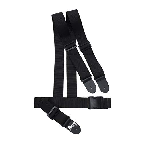 Slinger Straps Harness Strap | 2-Inch Black Double Shoulder Ergonomic Guitar Strap For Bass Or Guitar
