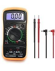 Digitale multimeter XL830L met LCD-achtergrondverlichting, meetinstrument voor stroom, AC/DC-spanning, weerstand, continuïteit, diodes enz., zwart/geel (inclusief 9V-batterij en testkabels)