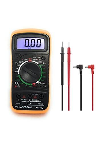Multímetro digital XL830L con retroiluminación LCD, medidor para corriente, tensión CA/CC, resistencia, continuidad, diodos, etc., color negro y amarillo (batería de 9 V y cables de prueba)