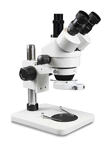 Parco Scientific PA-1FX-IFR09W Trinocular Zoom Stereo Microscope | 10x Widefield Eyepiece | 0.7X—4.5X Zoom Range, 3.5X—45x Magnification Range, 0.5X Barlow Lens | Pillar Stand | 144-LED Ring Light