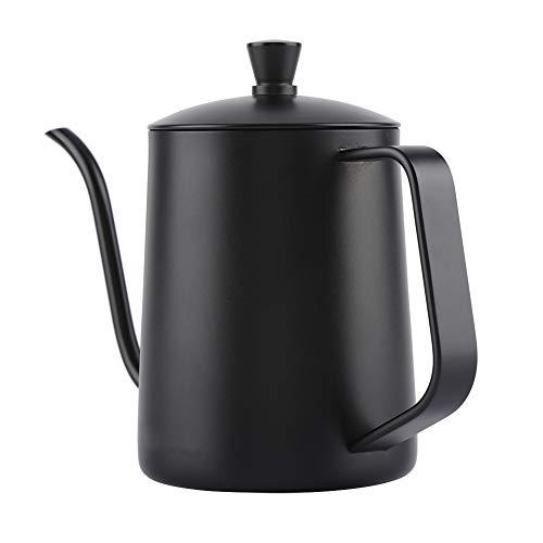 Alvinlite Pour Over Kettle Tetera de café de Acero Inoxidable con Cuello de Cisne Cafetera Negra 550Ml/18.5Oz