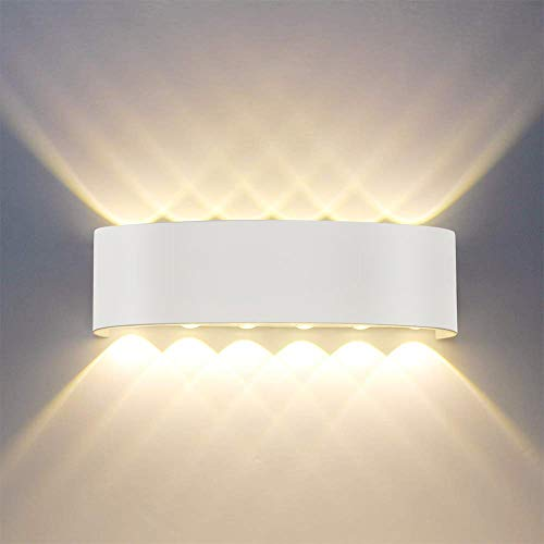 Sobrovo Innen Wandleuchten Moderne 12W LED Wandleuchte Aluminium Wandbeleuchtung Oben Unten Dekorative Wandlampe für Wohnzimmer Schlafzimmer Halle Treppe Pathway (Weiß)